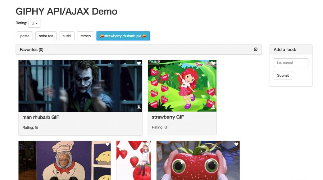 Giphy/Ajax Demo