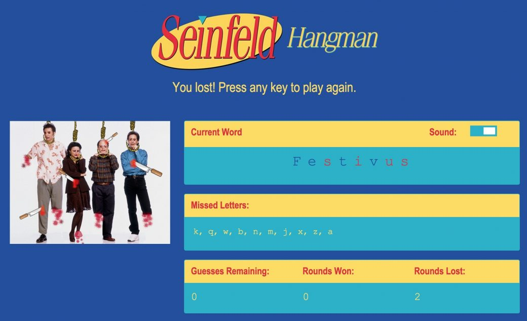 Desktop View of Seinfeld Hangman